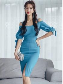 Wholesale Korea 2 Colors Boat Neck Bodycon Dress