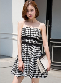 Fashion Sexy Houndstooth Strapless A-line Dress