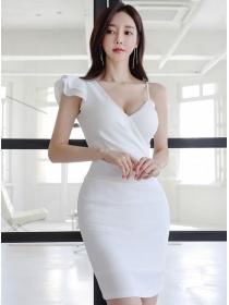 Korea Wholesale V-neck Flouncing Sleeve Slim Tank Dress