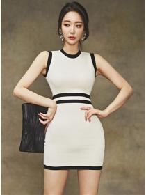 Fashion Women 2 Colors Block Slim Knitting Tank Dress