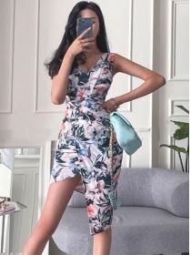 Wholesale Summer V-neck Flowers Slim Tank Dress