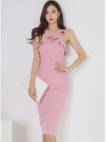Wholesale Korea Flouncing Off Shoulder Slim Tank Dress