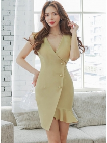 Fashion Women 2 Colors V-neck Single-breasted Fishtail Dress