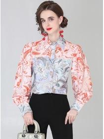 Wholesale Retro Flowers Shirt Collar Puff Sleeve Blouse