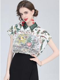 Europe Fashion Flowers Printings Batwing Blouse