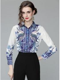Retro Europe Shirt Collar Peacock Prints Long Sleeve Blouse