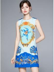 Wholesale Europe Shells Flowers Round Neck A-line Dress
