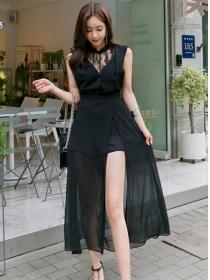 Summer New High Waist Lace Splicing Split Long Dress