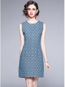 Europe Summer Round Neck Letters Slim Denim Dress