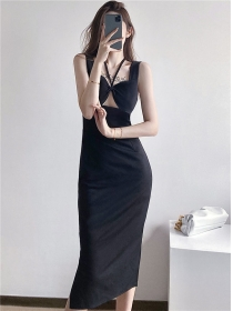 Wholesale Sexy Hollow Out Bust Skinny Tank Dress