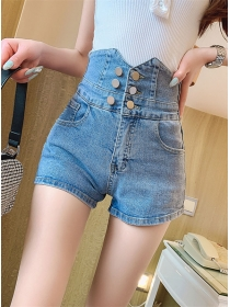 Summer Fashion Double-breasted High Waist Short Jeans
