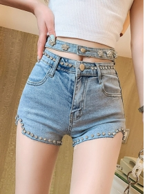 Summer Hot Beads Rhinestones Waist Short Jeans