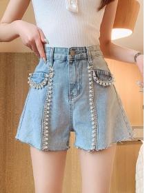 Summer New Beads Pearls Wide-leg Short Jeans