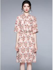 Fashion Tie Collar Chain Waist Printings Loosen Dress