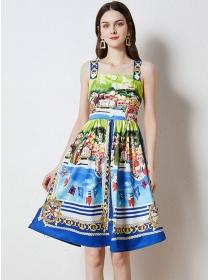 Pretty Summer Village Printings Straps A-line Dress