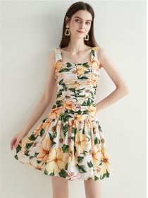 Charming Wholesale Pleated Flowers Straps Dress