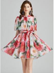 Wholesale Europe Elastic Waist Flowers Loosen Dress
