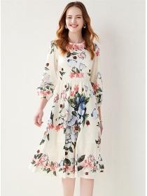 Retro Europe High Waist Round Neck Flowers Dress