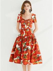 Wholesale Stylish Square Collar High Waist A-line Dress