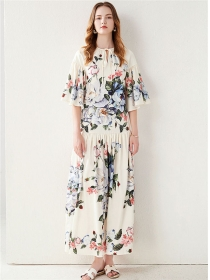 Europe New Flare Sleeve Flowers Loosen Maxi Dress