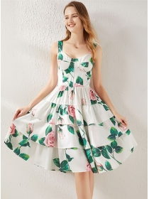 Pretty Women Layered Flouncing Flowers Padded Straps Dress