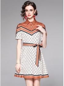Summer Wholesale Color Block Printings Shirt Dress