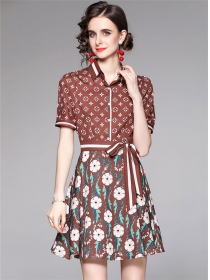 Wholesale Fashion Flowers Tie Waist Shirt A-line Dress