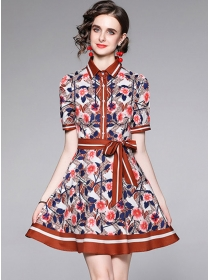 Modern Lady Tie Collar Flowers Short Sleeve A-line Dress