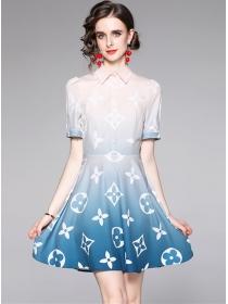 Brand New Shirt Collar Gradient Color Short Sleeve Dress