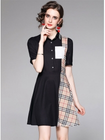 Wholesale Europe Color Block Plaids Shirt Dress