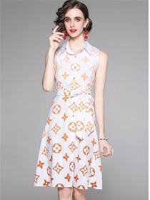 Summer New Shirt Collar Tie Waist Printings Tank Dress