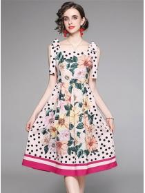 Charming Lady Bowknot Straps Dots Flowers A-line Dress