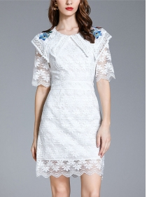 Pretty OL Embroidery Doll Collar Lace Slim Dress