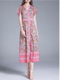 Retro Charming Single-breasted V-neck Flowers Long Dress