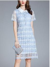 Elegant Europe Doll Collar Lace Flowers Short Sleeve Dress