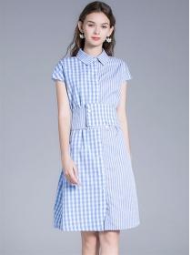 Summer Fashion Shirt Collar Belt Waist Plaids Dress