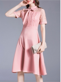 Lovely Wholesale Tie Collar Lace Sleeve A-line Dress