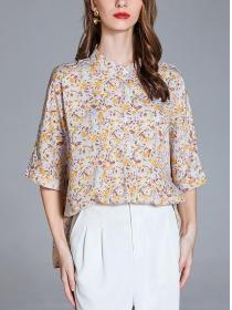 Summer Fashion Flare Sleeve Flowers Loosen Blouse