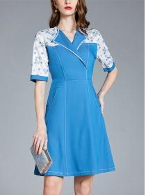 Retro Europe Tailored Collar Flowers Sleeve A-line Dress