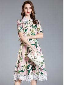 Charm Grace Lace Doll Collar High Waist Flowers Dress