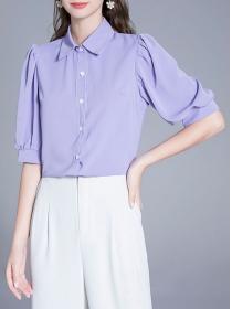 Summer Fashion Shirt Collar Puff Sleeve Loosen Blouse