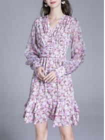 Charming Lady V-neck Flowers Fishtail Long Sleeve Dress