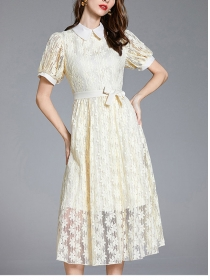 Retro Europe Doll Collar Tie Waist Lace Flowers Long Dress