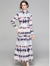 Europe Stylish High Waist Shirt Collar Printings Maxi Dress