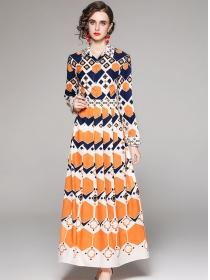 Wholesale Europe Shirt Collar Printings Pleated Maxi Dress