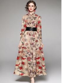 Retro Europe Belt Waist Flowers Long Sleeve Maxi Dress