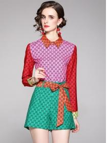 Brand Fashion Color Block Shirt Collar Tie Waist Short Suits