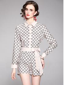 Classic Fashion Tie Waist Shirt Collar Plaids Short Suits