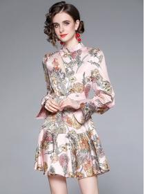 Pretty Wholesale Flare Sleeve Flowers Fishtail Dress