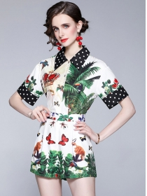 Europe Summer Shirt Collar Flowers Two Pieces Suits
